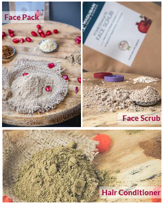face pack, facescrub & hairconditioner combo packs